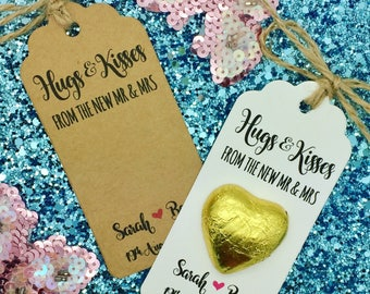 Chocolate Favour, Hugs & Kisses Gift Tags, Personalised Wedding/ Party Gift, Heart, Love Is Sweet