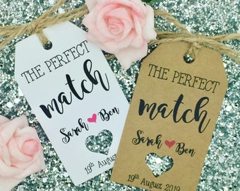 "Matches Favour, Wedding Favour Gift Tag ""the perfect match"" Label Kraft"