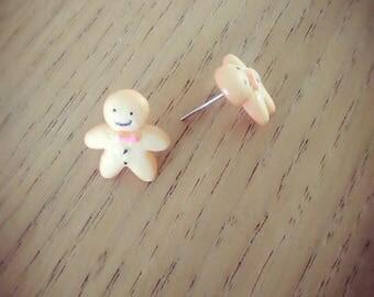 Earrings bullet cabochon gingerbread man