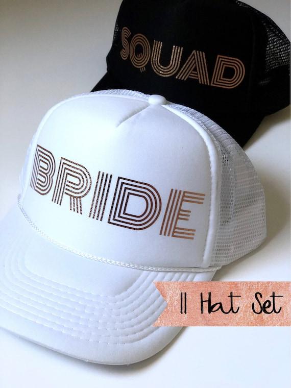 11 Bride Squad Hat SET| Bride Hats| Bachelorette Hats| 1 White Bride, 10 Black Squad Hats-with Gold Vinyl lettering