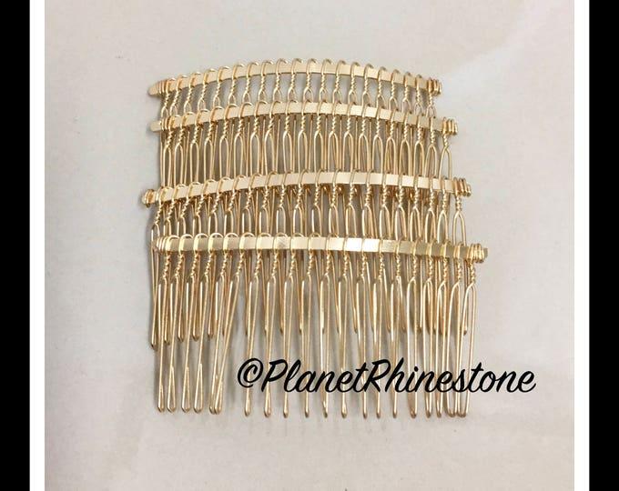 """Four Gold 3"""" Hair Combs - DIY HAIR COMB - Metal Hair Combs - Bridal Veil Comb - Hair Fascinators - Hair accessories - headpiece"""