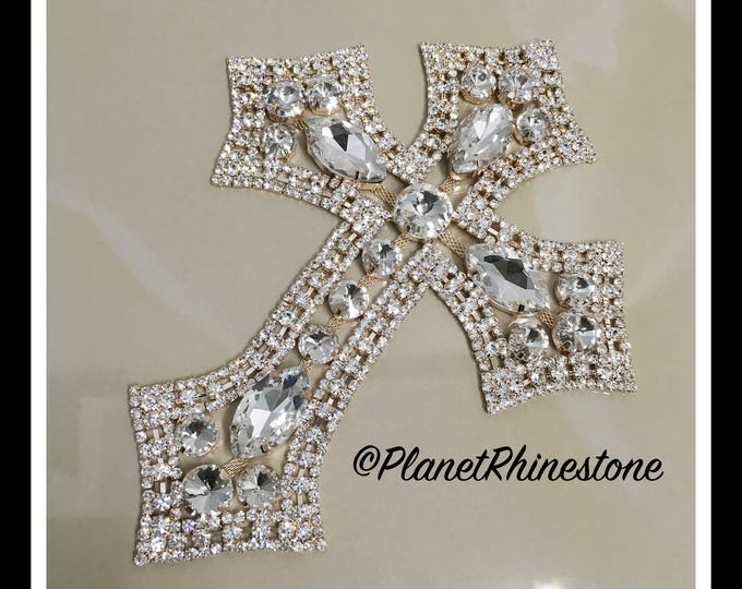 Large - Rhinestone Cross Applique/ Swarovski Shine/ Baptism/ first communion #CR-2