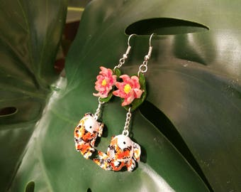 Hand sculpted polymer Koi fish earrings, fimo, jewelry, nice GIFT for your friends and family.