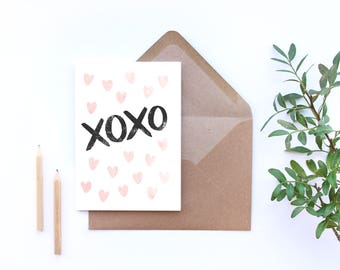 XOXO card, pink hearts, love you card, hugs and kisses, romantic greetings card, A6 card with envelope, heart pattern
