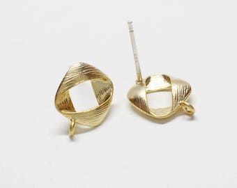 E0231/Anti-Tarnished Matte Gold Plating Over Brass+Sterling Silver 925 Post/Ribbon Circle Stud Earrings/10x10mm/2pcs