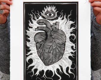 Art Burin Print, Heart, Art Print, Linocut, Hand Made, Consciousness, Open Mind. Mexico.