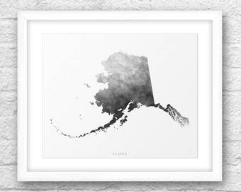 Alaska Map, Alaska Print, Alaska Art, Alaska State, Minimalist Art, Alaska Printable,Instant Download, Alaska Watercolor Art,Alaska Wall Art