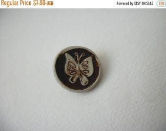 ON SALE Vintage 1940s Butterfly Carved Ceramic Pin 63117