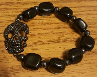 sparkly black skull bracelet