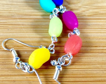 Jelly bean polymer clay earrings