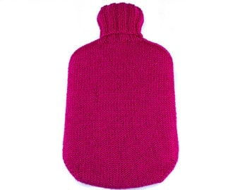 Pink Hand Knit Hot Water Bottle Cover