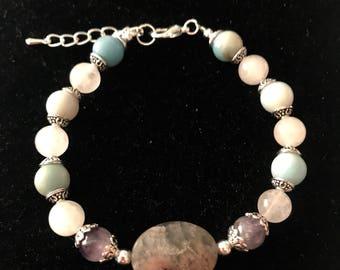 Beautiful Natural Gemstone Agate & Jade Bracelet