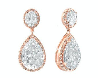 Rose Gold Bridal Collection, rose gold earrings, bridal glamour, Bridal and Prom Wear