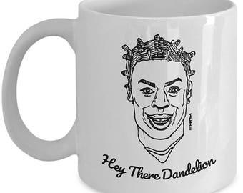 Crazy Dandelion Eyes Meme Mug // Funny Crazy Eyes Quote // OITNB coffee cup // Black and White Illustration