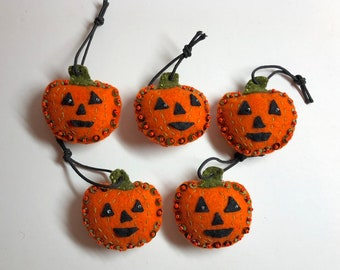 Set of 5 Handmade Halloween Jack-o'-lantern Pumpkin orange & moss green felt ornaments with sequins and seed beads