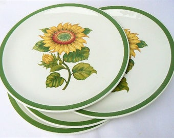 "Four Sunflower Stoneware Ceramic Dinner Plates - Set of 4 Yellow Green Sun Flower Themed Plates by Harmony House #4260 Sunland 10 1/4"" Japan"