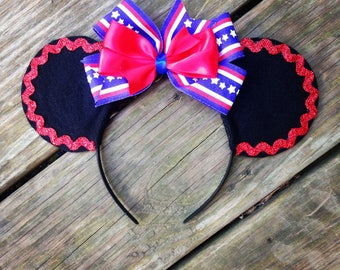 Patriotic Red White & Blue 4th of July Minnie Mouse Ears