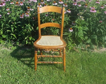 Very comfortable desk or side chair with caned seat