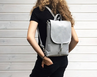 Waterproof Backpack, Vegan Solid Rucksack, Grey Minimal Bag