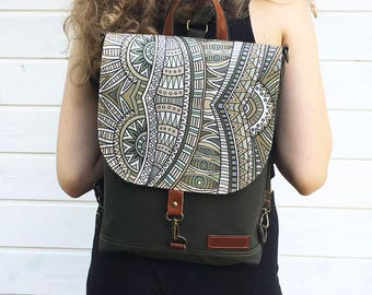 Forest Mini Backpack, Waterproof Festival Rucksack, Vegan Student Backpack, Versatile Bag, Convertible Bag, Crossbody Bag, Shoulder Bag