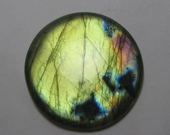 Natural Labradorite cabochon Round shape loose semi precious gemstone HEALING STONE  size 55 x 9 mm approx ET 259