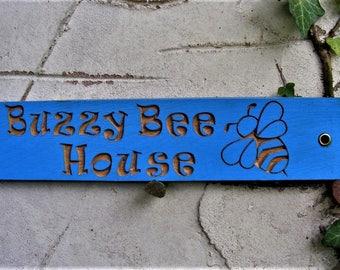 Bee Hive Sign Engraved Wooden Outdoor Garden Plaque Bee Motif,Birthday,Christmas Gift