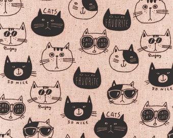 1/2 yard Kokka NONO Ecole Cat   100% Cotton Canvas   44700-702-B Pink   Japanese Import