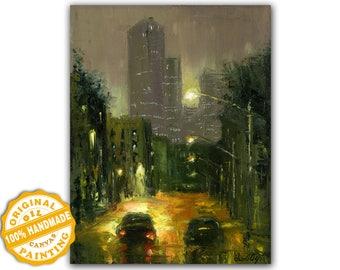 Original Abstract Painting Original CityStreet Rain, Abstract Cityscape 100% Handmade Framed Abstract Painting Original Painting on Canvas
