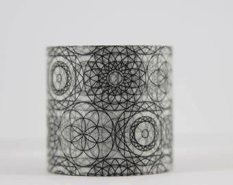 Washi tape mandala mosaic circles black white