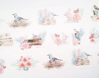 Design Washi tape forest animals roses natural masking tape