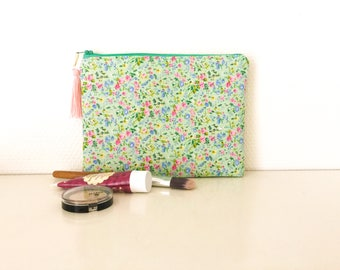 Floral pouch colors mint and pink