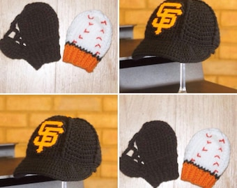 BASEBALL Hat with Glove and Ball Mittens, Baby baseball MITTENS, Giants baseball inspired (Handmade by me and not affiliated with the MLB)