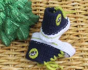 Crochet Baby SHOES, Baby FOOTBALL shoes, Seattle Seahawks inspired converse shoes (Handmade by me and not affiliated with the NFL)