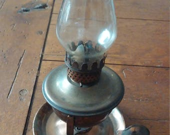 Antique Mini Hilco Copper Oil Lamp