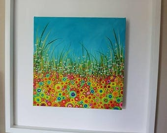 One Hot Summer. Original acrylic floral meadow painting on box canvas.