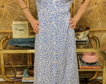Vintage 90s Button Down Floral Maxi Dress with Pockets