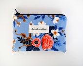 Floral Blue Coin Purse, Les Fleurs Change Purse, Pink Flowers Card Wallet, Navy Zipper, Navy Blue Lining, Small Zipper Bag