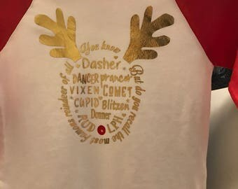 Rudolph the red nose reindeer kids raglan