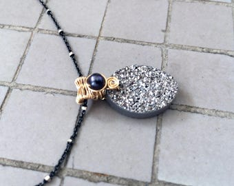 Gold Filled Wire Wrapped Titanium Coated Agate Oval Druzy & Pearl Pendant with Two Tone Sterling Silver and Gold Filled Chain Necklace