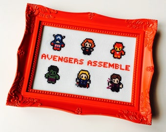 Avengers | Avengers Assemble | Hulk | Thor | Black Widow | Ironman | Captain America | Hawkeye | Framed | Cross Stitch | Completed | Home |