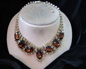 Vintage Brown Glass & Yellow Rhinestone Necklace