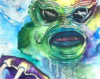 Creature from the Black Lagoon  - Watercolor Print
