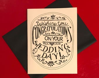 black and white hand lettered congratulations on your wedding day card