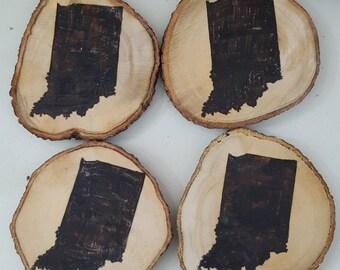 YOUR STATE wood burned coasters // custom coaster // wood slices