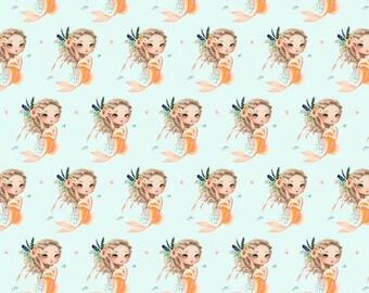 Mermaid peach crib bedding - green, Palm Springs, desert, baby girl, nursery, fitted sheet , changing mat cover, bumpers,skirt, rai