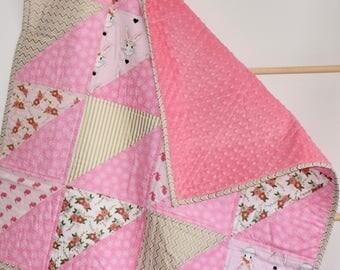 SHIPS TOMORROW - SALE - Wonderland Crib Quilt, floral woodland nursery, patchwork blanket, minky quilt, pink and gold, bunnies, rabbit