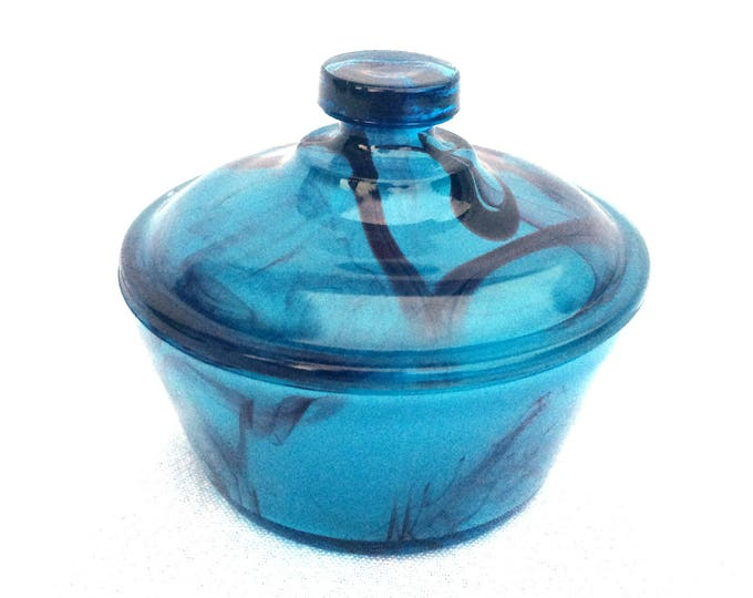 """Davidson Blue Cloud Glass Lidded Powder Jar, Made in England 1931, Immaculate Condition, 3"""" x 3.5"""", Ideal Gift, Exquisitely Unique Piece"""
