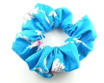 Scrunchie, scunchies - blue with pink flowers