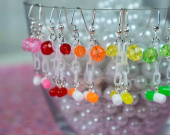Take Two Pill Earrings in a variety of colors - So Kawaii !! J-fashion Menhera Decora Creepy Cute Lolita Fairy Kei