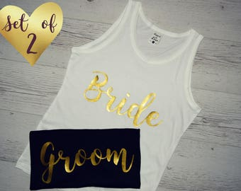 Bride and Groom Tanks Set, Honeymoon Tanks Tops, Couples Tanks Tops, Bride Groom Tanks, Couple Tanks, Matching Tanks, His and Her Tank Tops